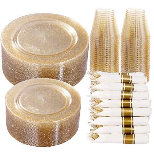 DaYammi 350 Pieces Gold Glitter 350 Dinnerware Set,