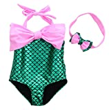 PGXT Girl's One Piece Mermaid Swimwear Swimsuit Bathing Suit+Headband Pink 130CM