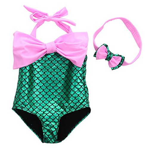 [PGXT Girl's One Piece Mermaid Swimwear Swimsuit Bathing Suit+Headband Pink 110CM] (Ups Package Costume)