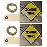 Zombie Xing Crossing Stylized Yellow Grey Caution Sign Kraft Gift Boxes Set of 2