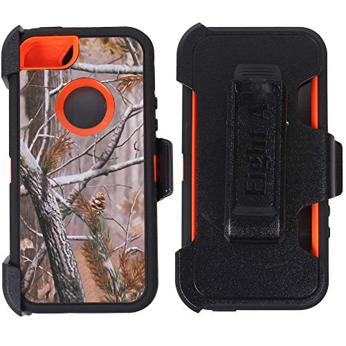 (Heavy Duty Impact Rugged with Built-in Screen Protector Camouflage Case Cover with Clip for Apple iPhone 5/5S/SE (Orange-Tree-Camo))
