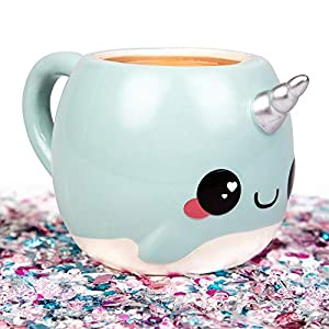 Blue Narwhal Coffee Mug – Unicorn of the Sea – Glitter Galaxy – Ceramic
