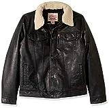 Levi's Boys' Big Denim Trucker Jacket, Black Moto/Sherpa, XL
