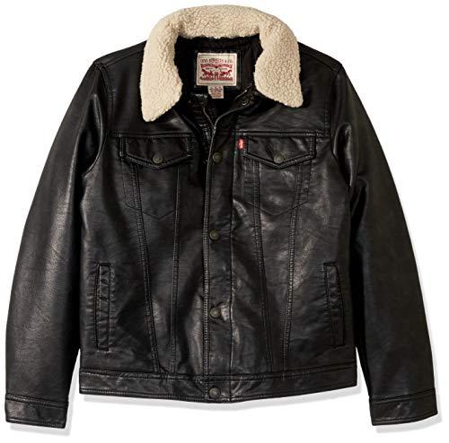 (Levi's Boys' Big Denim Trucker Jacket, Black Sherpa Moto, L)