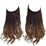 Hair Extension Ombre Curly Long Synthetic Halo Hairpiece Dark Brown to Copper Auburn 18 Inch 4.2 Oz Hidden Wire Headband for Women Heat Resistant Fiber No Clip SARLA(M01&6T30)