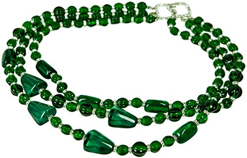 Kenneth Jay Lane 3 ROW EMERALD (faux) BEADS WITH PAVE CRYSTAL (Kenneth Jay Lane Emerald Necklace)