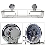 Vacuum Wandablage für Bad oder Küche, Edelstahl Küchenablage Teleskopregal Badablage Ablagekorb Duschkorb Universalkorb Befestigen, ohne Loch zu bohren-39,1 x 8,1 x 15,3cm (4)