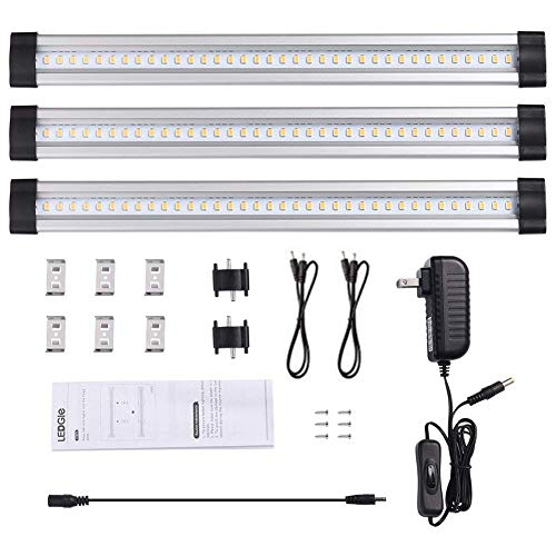 Extending Closet - LEDGLE 12W LED Under Cabinet Lighting Kit Plug in,3 pcs 12 Inches Cabinet Light Strips, 950 Lumen, for Kitchen Cabinets Counter, Closet, Shelf Lights,Warm White 3000K, All Accessories Included