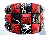 Red/Black Line Checkered Studded Black Leather Bracelet