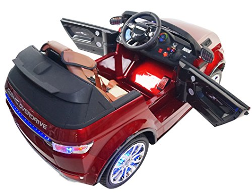 Range Rover Style Premium Ride On Electric Toy Car For Kids - 12V Battery Powered - Color LCD - RC Parental Remote Controller - Leather Seat - Boys and Girls - (Red Range Rover)