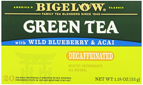 Bigelow Tea Green Tea with Wild Blueberry and Acai Decaf (Pack of 6), 120 Tea Bags Total. Decaffeinated Individual Green Tea Bags, for Hot or Iced Tea, Drink Plain or Sweetened with Honey or Sugar