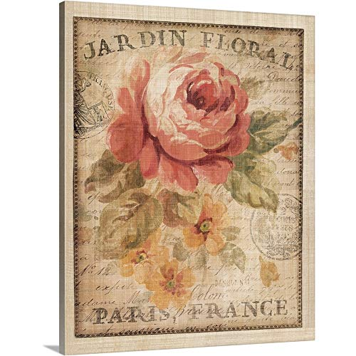 Parisian Flowers II Canvas Wall Art Print, 24