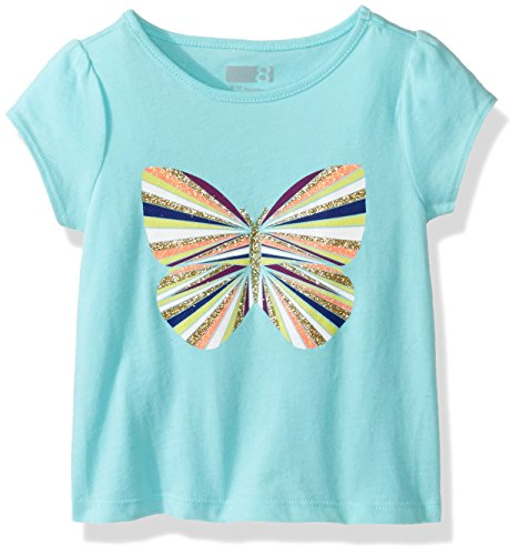 Crazy 8 Baby Girls' Toddler Boys' Li'l Screen Tee, Butterfly Aqua Splash, 12-18 - Baby Splash Aqua