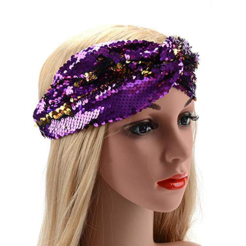 Sequin Flip Mermaid Headband Mermaid Party Favors Sequence Hairband for Girls Birthday Gift, Purple and -
