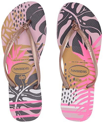 Havaianas Women's Slim Foliage Flip Flop Sandal,Rose Quartz, 39/40 BR(9-10 M US Women's / 8 M US Men's) (Havaianas Pink)