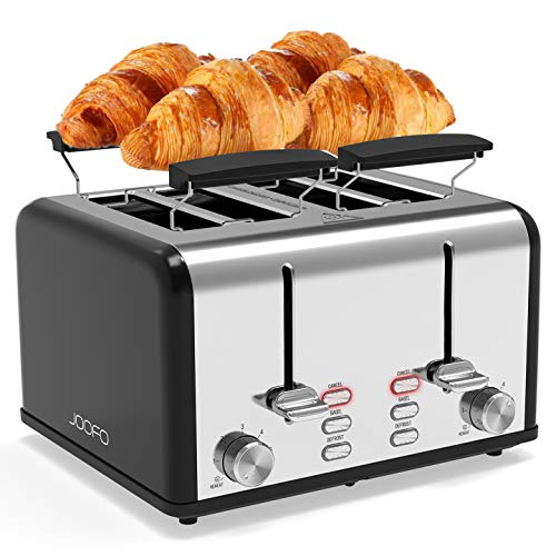 JOOFO 4 Slice Toaster,6 Shade Settings Extra-Wide Slot Stainless Steel Toasters with Bagel, Cancel, Defrost,Reheat Function Removable Crumb Tray (4 Slice, Black)