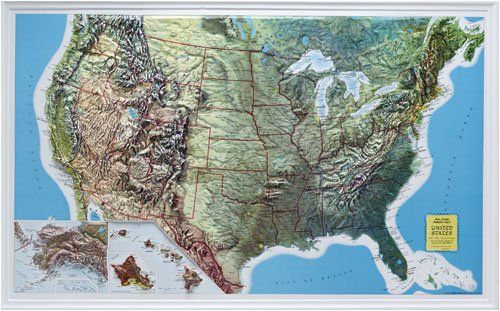 Map 21 Raised Relief - Hubbard Scientific 432 U.S. Relief Map, 34 x 21 Inch, Rand