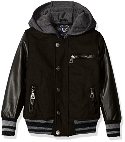 (Urban Republic Boys' Little Wool Varsity Coat with Faux Leather Sleeves, Black, 5/6)