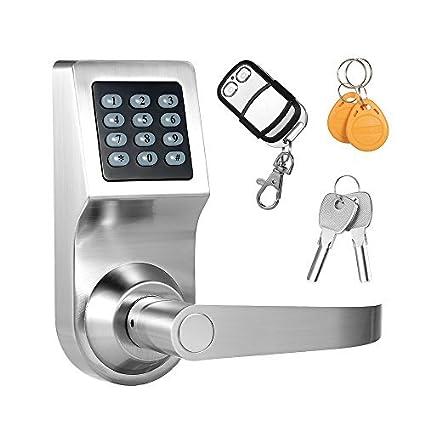 Decdeal - 4 en 1 Cerradura Eléctrónica Codificada de Teclado de Puerta, Desbloqueado por Contraseña / RF Tarjeta / Remoto Control / Llave Mecánica, ...