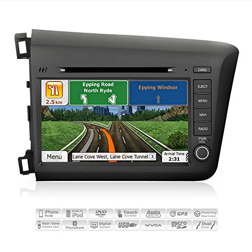 Digital Audio Satellite Mp3 Player (AIMTOM AMN-5918-MB 2012 Honda Civic In-dash GPS Navigation Stereo FM AM Radio Bluetooth DVD CD Deck 8