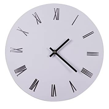 Foxom Relojes de Pared Silencioso Grandes No-ticking Reloj para Cocina Decorativas 30 CM, Blanco: Amazon.es: Hogar