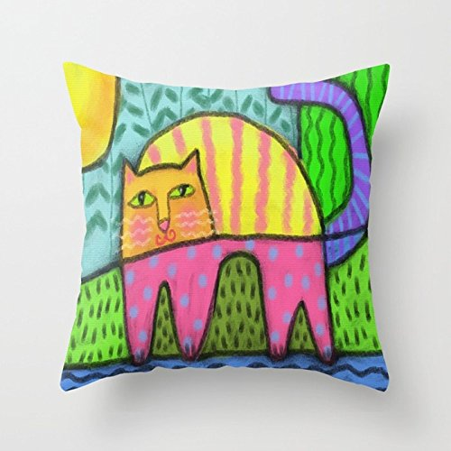 Ashasds Colorful Abstract Cat Rainbow Color Face Defensive Stance Decoration Throw Pillow Covers For Home Indoor Friendly Comfortable Cushion Standard Size 20x20 IN