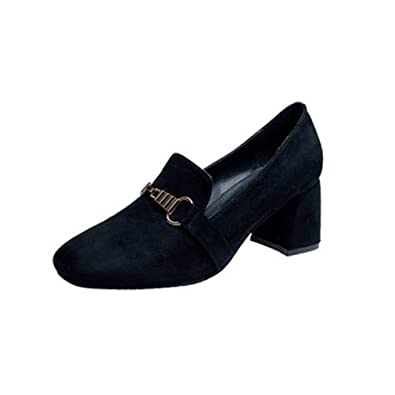 Women's Slip-On Loafers Pumps Suede Square Toe Block Heel Dress Classic Penny Loafer Pump