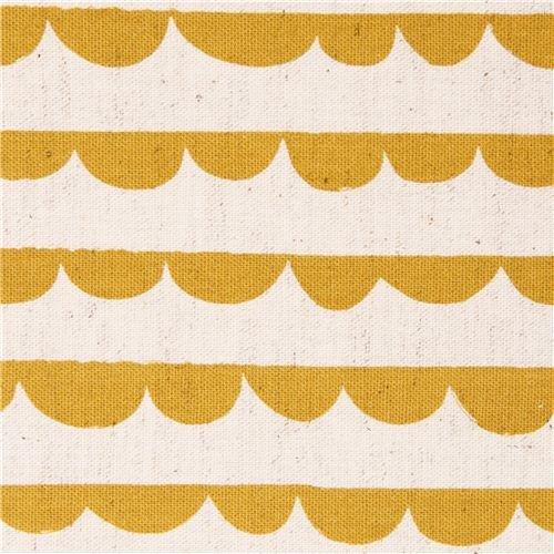 Half-Round mustard yellow stripe lace Canvas fabric Charms Kokka (per 0.5 yard multiples)