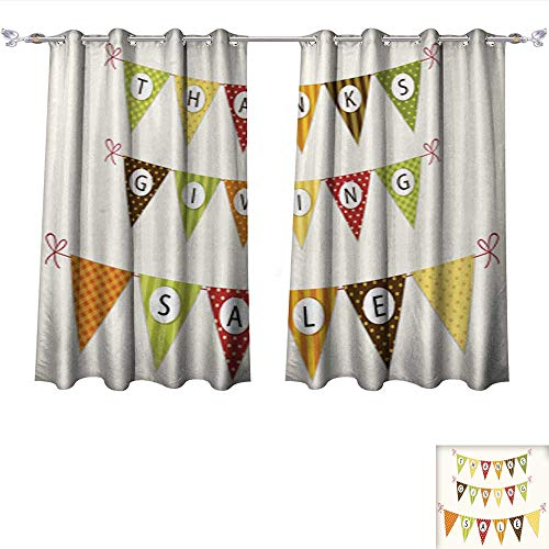 Waterproof Window Curtain Cute Thanksgiving Bunting Flags with Letters in Traditional colors2 Tie Up Window Drapes Living Room W55 x ()