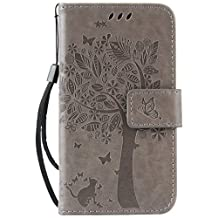 "Galaxy Core LTE/Core 4G(4.5"")case,G386(2014)case,Bujing Gray Embossed Cat&Tree Design Card Slot Stand Wallet Case Only For Samsung Galaxy Core LTE/Core 4G(4.5"")(2014)"