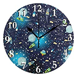Unimagic Galaxy Space Planet Battery Operated Round Wall Clock 9.45 Inch Silent Clock for Office Bathroom Living Room Kitchen