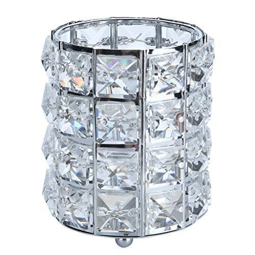 Clearance Sale!DEESEE(TM)Cosmetic Storage Tube Pen Holder Crystal Candle Holder Wedding Lover Decoration (Sliver) (Night Owl Camera Pen)