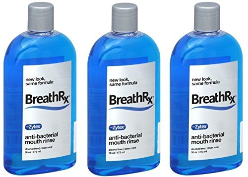 (BreathRx Anti-Bacterial Mouth Rinse, 16 Ounce Bottles (Pack of 3))