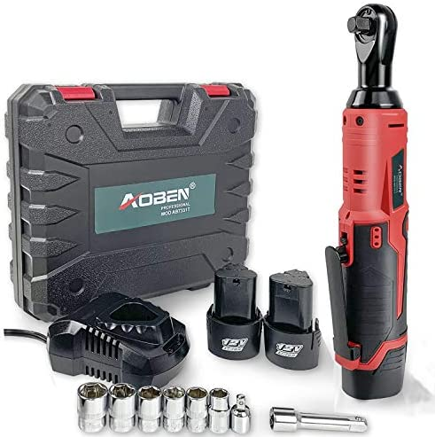 Cordless Electric Ratchet Wrench Set, AOBEN 3 8 12V Power Ratchet Tool Kit With 2 Packs 2000mAh Lithium-Ion Battery And Charger