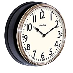Plastic Glass Vintage Deep Dish Black Wall Clock With Chrome Bezel (Dimensions 12Hx12Wx3.63D