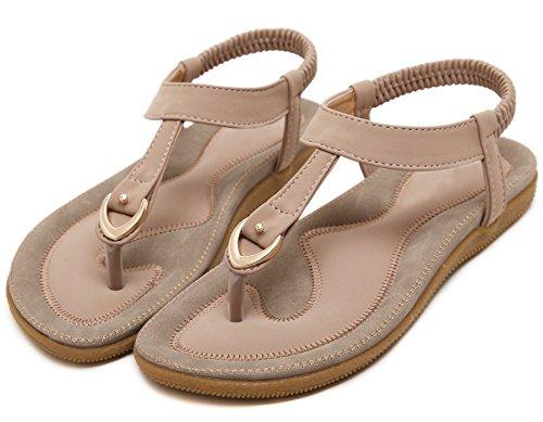 Pink For By BIGTREE Sandals Women Summer Bohemian Beach Flip Sandals Flop 1x5vqCn7w