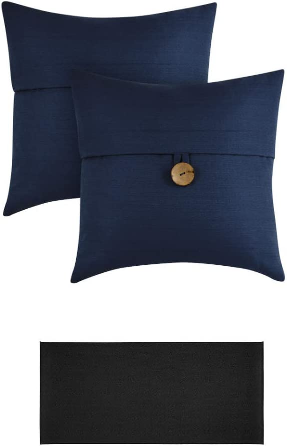 """Better Homes & Gardens Feather Filled Banded Button Decorative Throw Pillow, 20"""" x 20"""", Blue, 2 Pack + Kitchen Mat Black 20"""" x 45"""""""