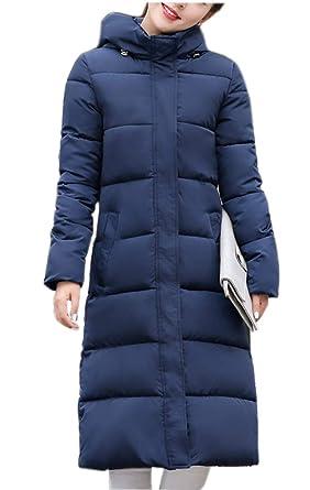 e67eb95040 Ghope Femme Longue Hiver Chaud Manteau Longueur du Genou Manteaux Parka  Jacket Fourrure avec Capuche Blouson
