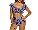 Swimwear Fashion Chic Printing Sexy Straps Low Collar Ruffled Ruffled Split Swimsuit,Red + Blue,S