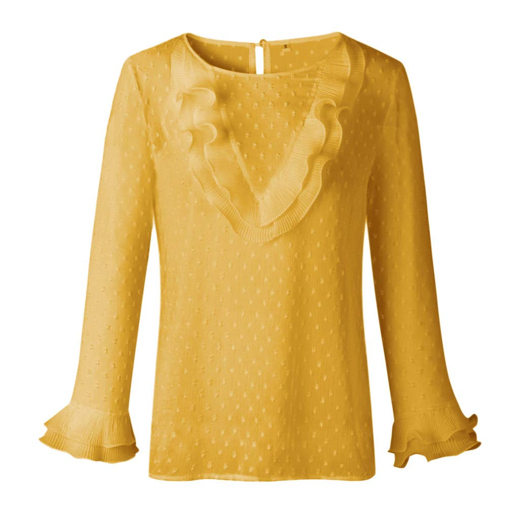 Women Casual Lace Polka Dot O Neck T-Shirt Long Sleeve Ladies Tops Blouse DBHAWK