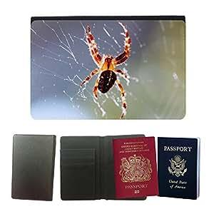 GoGoMobile Flip PU Leather Travel Passport Wallet Case with Flight Ticket Slots // M00118864 Spider Cobweb True Orb Weaver Spin // Universal passport leather cover