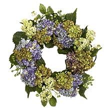 Nearly Natural 4781 Hydrangea Wreath, 22-Inch, Purple/Green
