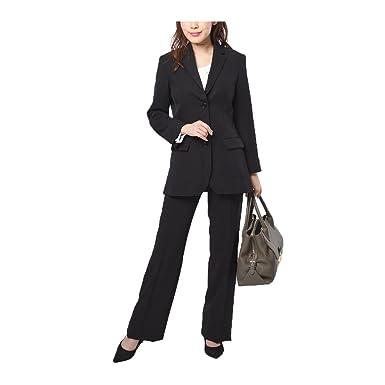 + 上下 ストレッチ スーツ 黒 ジャケット レディース パンツ (ニッセン) セット nissen 大きいサイズ