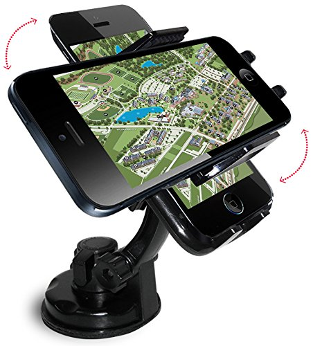 Cell Phone Holder, Quality Invent- Best Heavy Duty Mobile Car Phone Mount Holders- Easily Attach Securely to Windshield & Dashboard- Hands Free Car Accessories