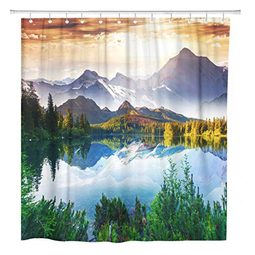 (ArtSocket Shower Curtain Fantastic Sunny Day is in Mountain Lake Creative Collage Home Bathroom Decor Polyester Fabric Waterproof 72 x 72 Inches Set with Hooks)