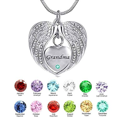 Naomi Grandma Angel Wing Birthstone Cremation Urn Crystal Necklace Heart Memorial Pendant Stainless Steel Jewelry (Silver,May) ()
