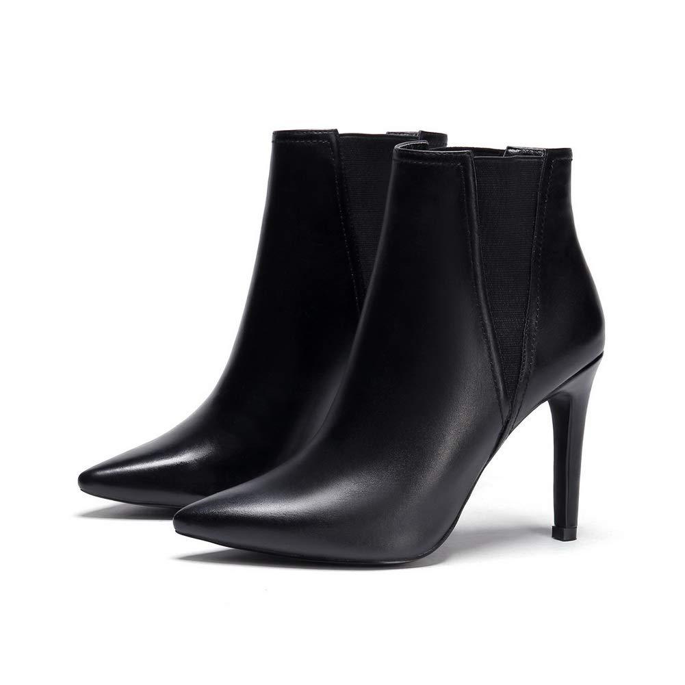 AdeeSu Womens Solid Spikes Stilettos Bucket-Style Leather Boots SXE04529