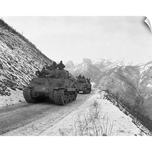 (CANVAS ON DEMAND Wall Peel Wall Art Print Entitled M-4A3 Sherman Tank Convoy Travels Along Well Graded But Narrow Road 36