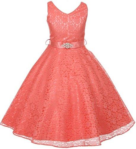 Coral Natural Pink Flower (Big Girls' Lace Floral Pattern Satin Sash Flower Girl Dress Coral 16 (G35G11))