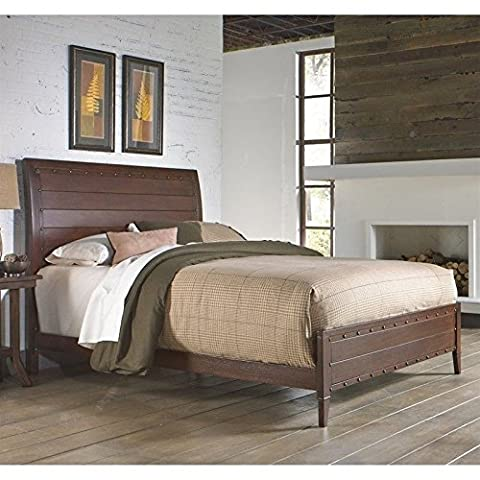 Rockland Platform Bed with Metal Sleigh Headboard and Wood Appearance Design, Brandy Finish, King - Footboard Hillsdale House